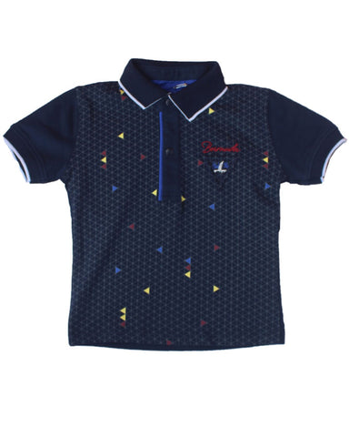 Ette Graph Navy Blue Polo Shirt