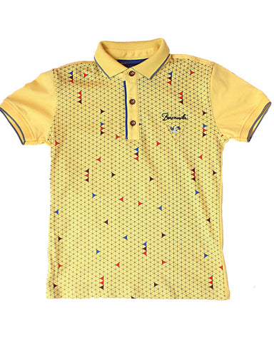 Yellow Graph Pattern Polo Shirt