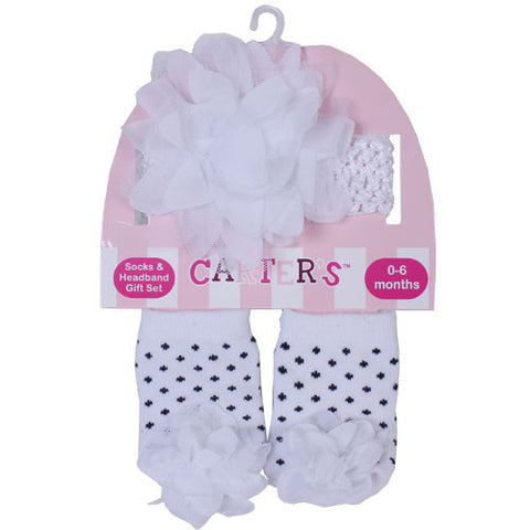 Carters White Head Band  with Rufffles and Socks