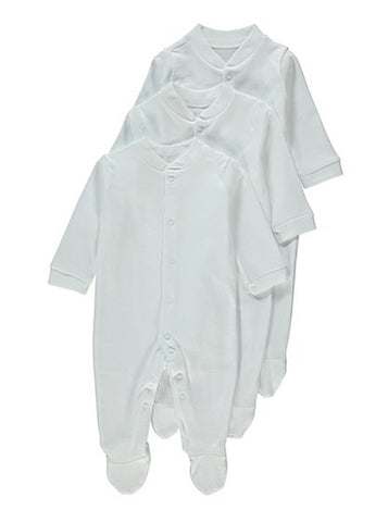 George 3 Pack Plain Sleepsuits