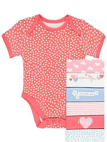 George 7 Pack Cute One Assorted Bodysuits
