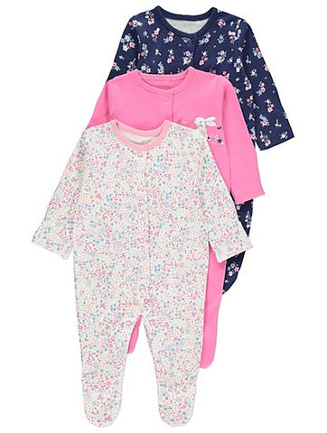 George 3 Pack Assorted Bunny Print Sleepsuits