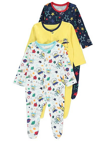 George 3 Pack Rocket Print Sleepsuits