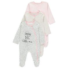 George 3 Pack Dream Big Assorted Slogan Sleepsuits