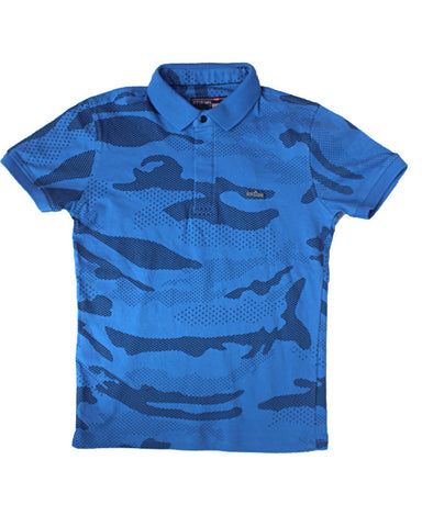 Blue Wave Pattern Polo Shirt