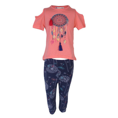 2 Piece cold shoulder Peach Top with Fire works design Leggings