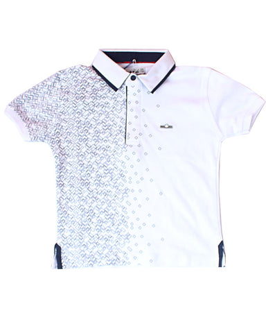 White & Black Pattern Polo Shirt
