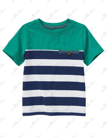 Crazy8 Striped T-Shirt- Green/Navy/White