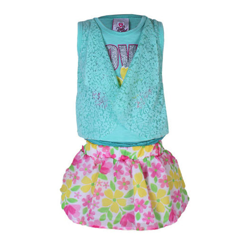 2 piece Mint Top with Flower Designed Skirt