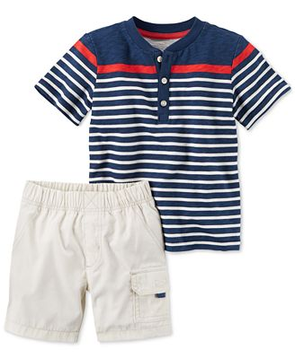 Carter's Striped Henley Tee & Shorts Set