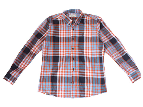 Plaid Gray/Orange Long Sleeve Shirt