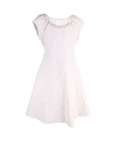 Bonnie Jean Cream Damask Dress - uniquechildren