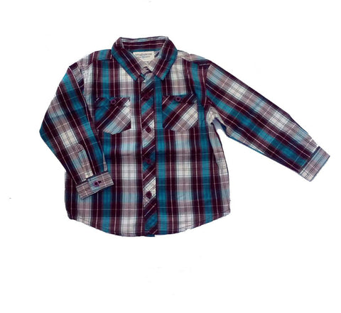 Long Sleeve Plaid  Blue Shirt - uniquechildren