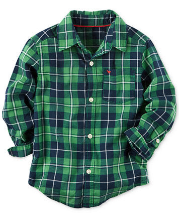 Gymboree Green Plaid Long Sleeve Shirt