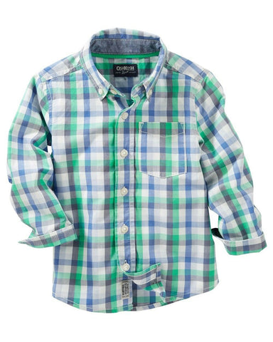 Oshkosh Green Plaid Long Sleeve Shirt