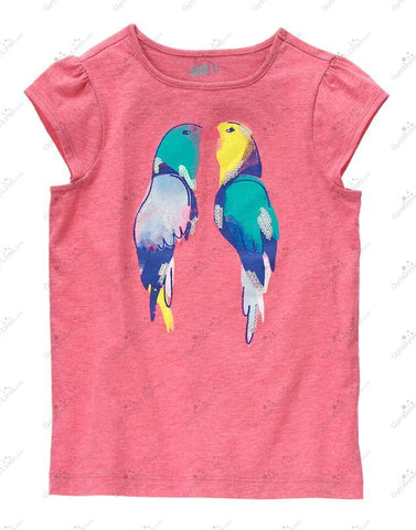 Crazy8 Pink Parrot Sequin Top