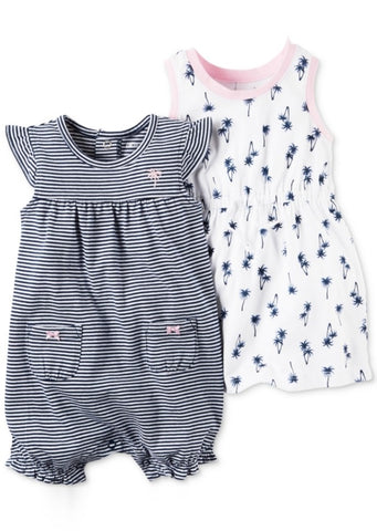 Carter's Dress & Romper Set - White/Navy Striped