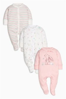Next Baby 3 Pack Rabbit Sleepsuits