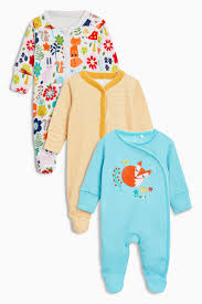 Next Baby 3 Pack Foxy Sleepsuits