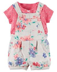 Carter's Girl Polka & Floral Shortall Set