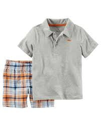 Carter's Gray 2 Piece Polo  & Short Set
