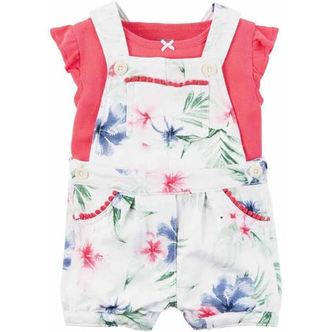 Carter's Girl's Shortall Set -Pink/White
