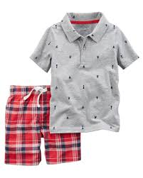 Carters 2-Piece Printed Polo & Plaid Short Set