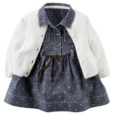 Carters Dress and Cardigan Set - Grey/White