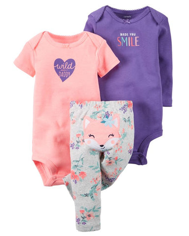 Carter's 3pc Girl Made you Smile Pants Set
