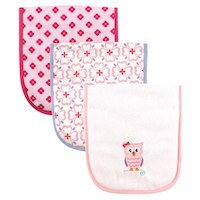 Luvable Friends Owl 3 Pack Burp Cloths