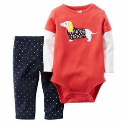 Carter's Carter Infant Girl Dog 2 PC Outfit Orange Bodysuit Creeper Blue Dot Leggings