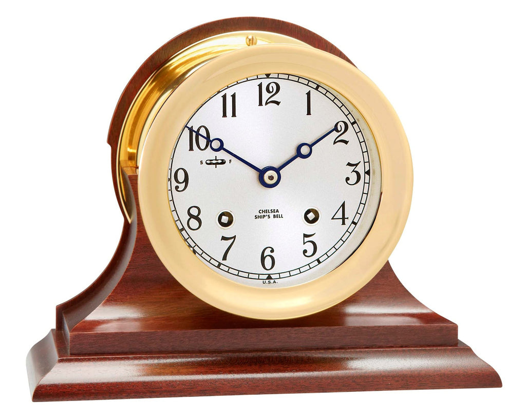 "Featured Product: Chelsea Ship's Bell Clock, 4.5"" Brass on Mahogany Base"
