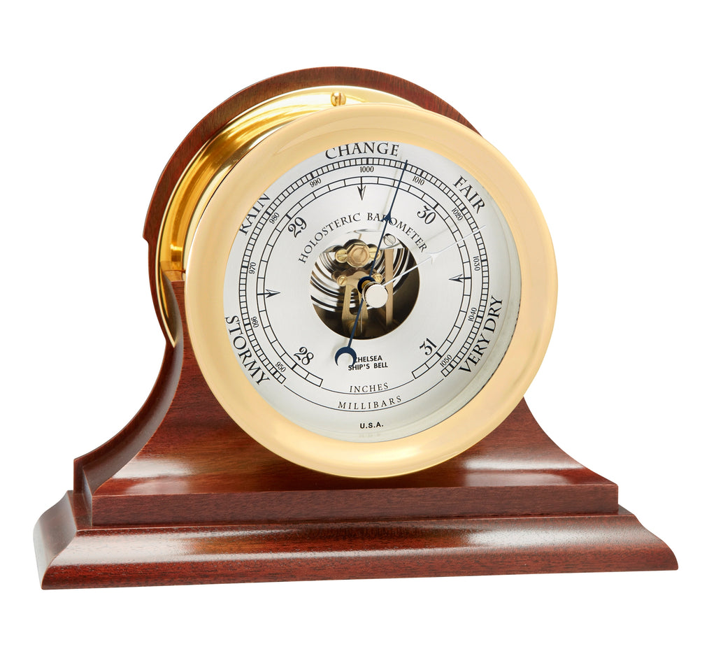 NEW Dial Design, Chelsea Ship's Bell Barometer, Brass on Mahogany Base