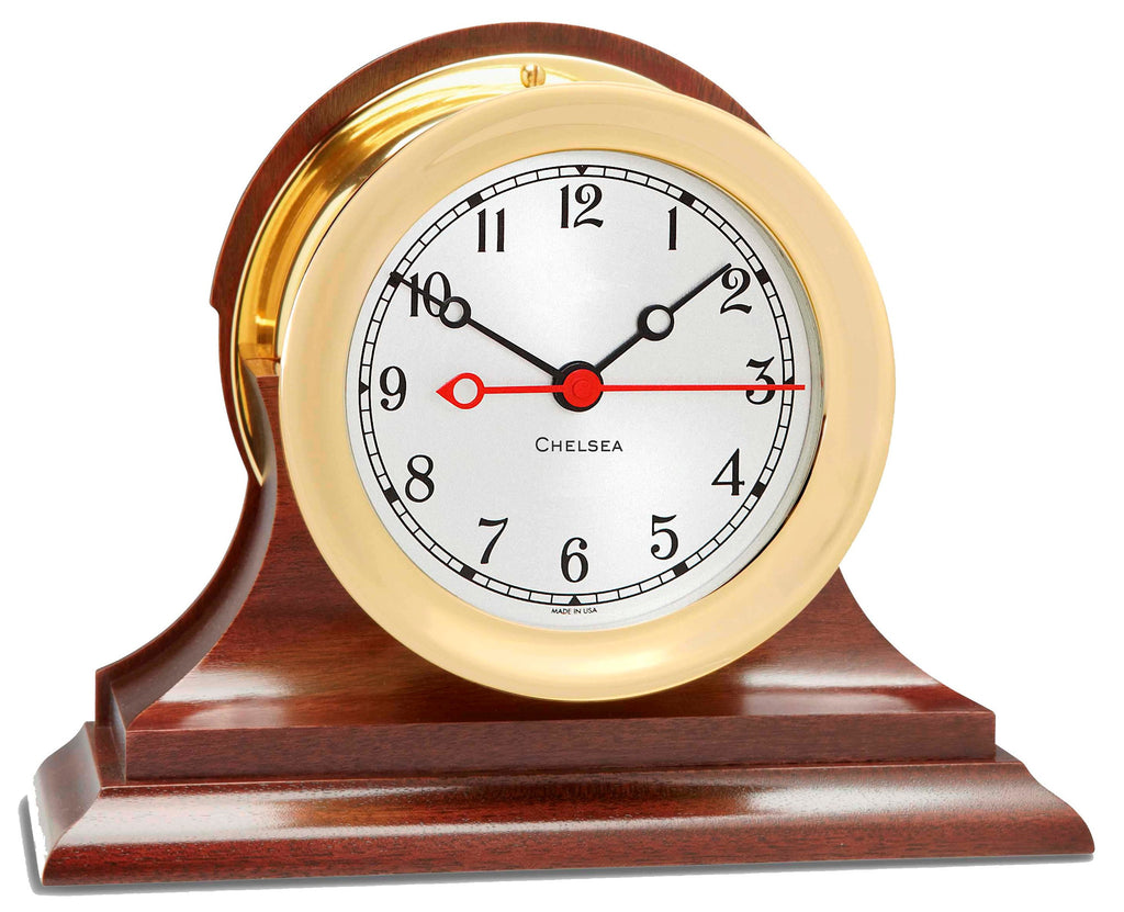 "Chelsea Shipstrike Quartz Clock, 4.5"" Brass on Mahogany Base, On Sale Now!"