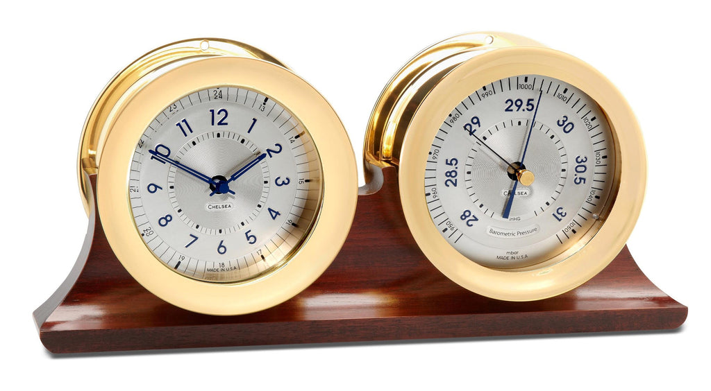 Chelsea Polaris Clock and Barometer Set on Mahogany Base On Sale Now!
