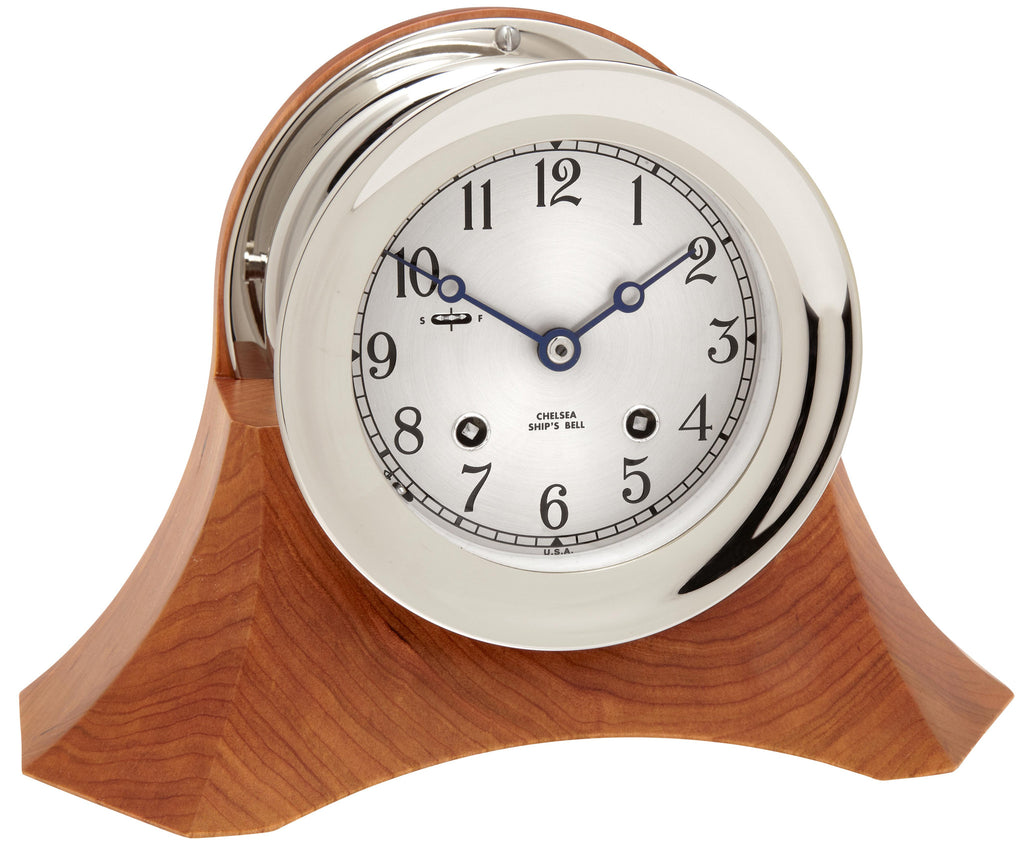 "Featured Gift: Chelsea Ship's Bell Clock, 4.5"" Nickel on Moser Cherry Base"