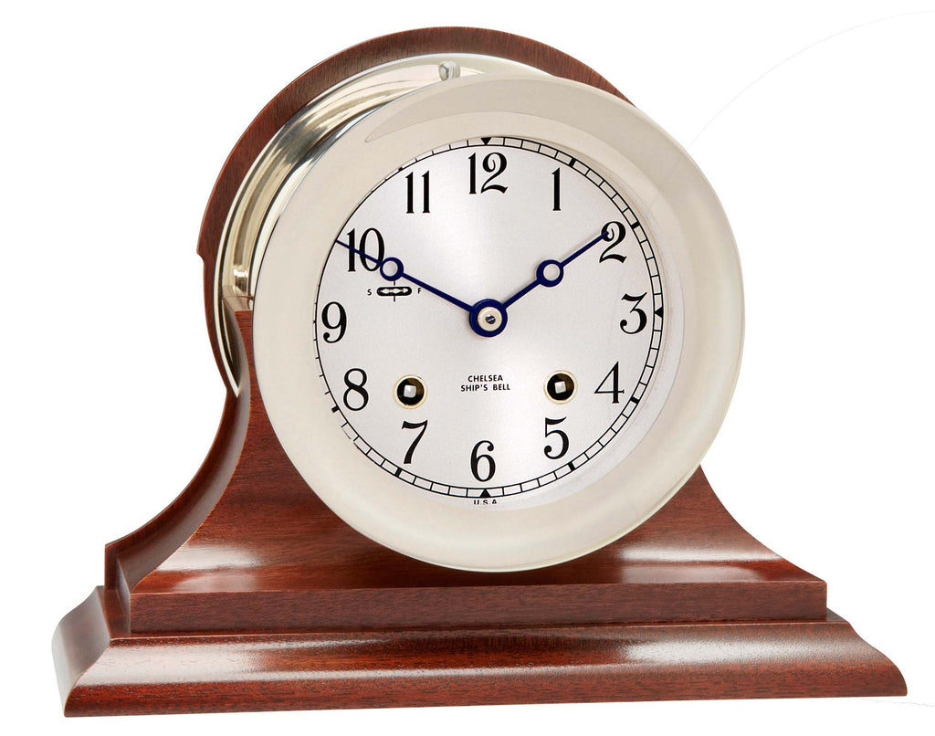"Chelsea Ship's Bell Clock, 4.5"" Nickel on Mahogany Base - On Sale Now!"