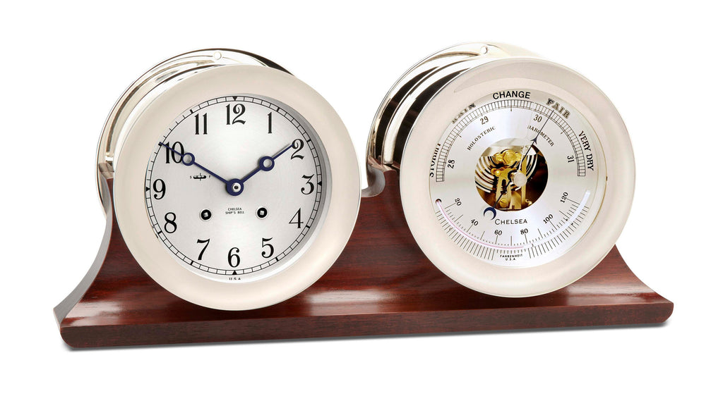 "Chelsea Ship's Bell Clock & Barometer Set, 4.5"" Nickel - On Sale Now!"