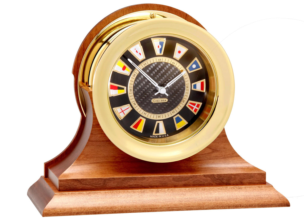 Featured Gift: Chelsea Carbon Fiber Flag Clock on Cherry Base, Brass