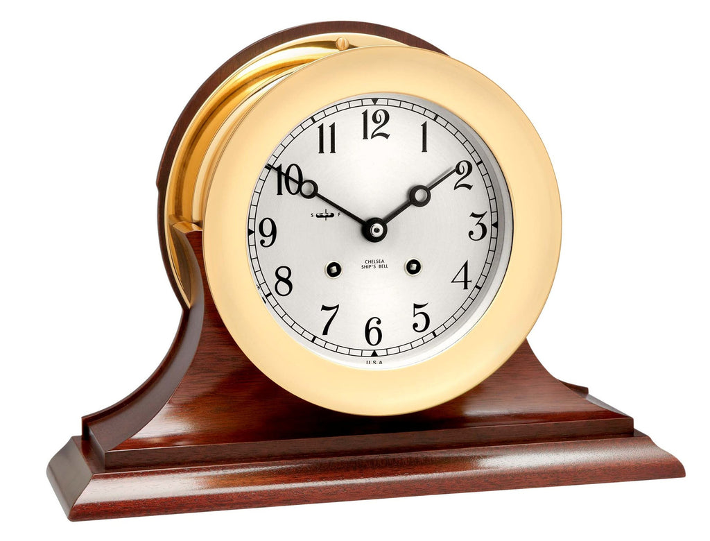 "Chelsea Ship's Bell Clock, 6"" Brass on Mahogany Base - On Sale Now!"
