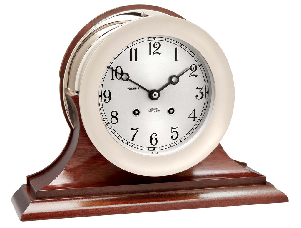 "Featured Gift: Chelsea Ship's Bell Clock, 6"" Nickel on Mahogany Base"