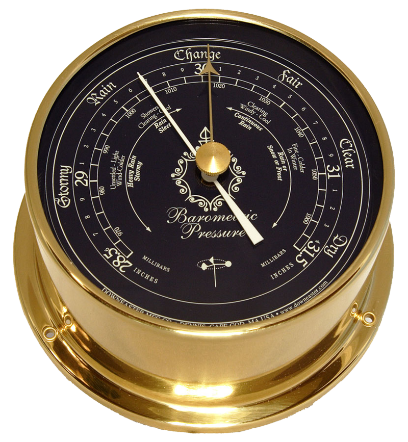 Featured Gift: Downeaster Barometer, Brass with Blue Dial