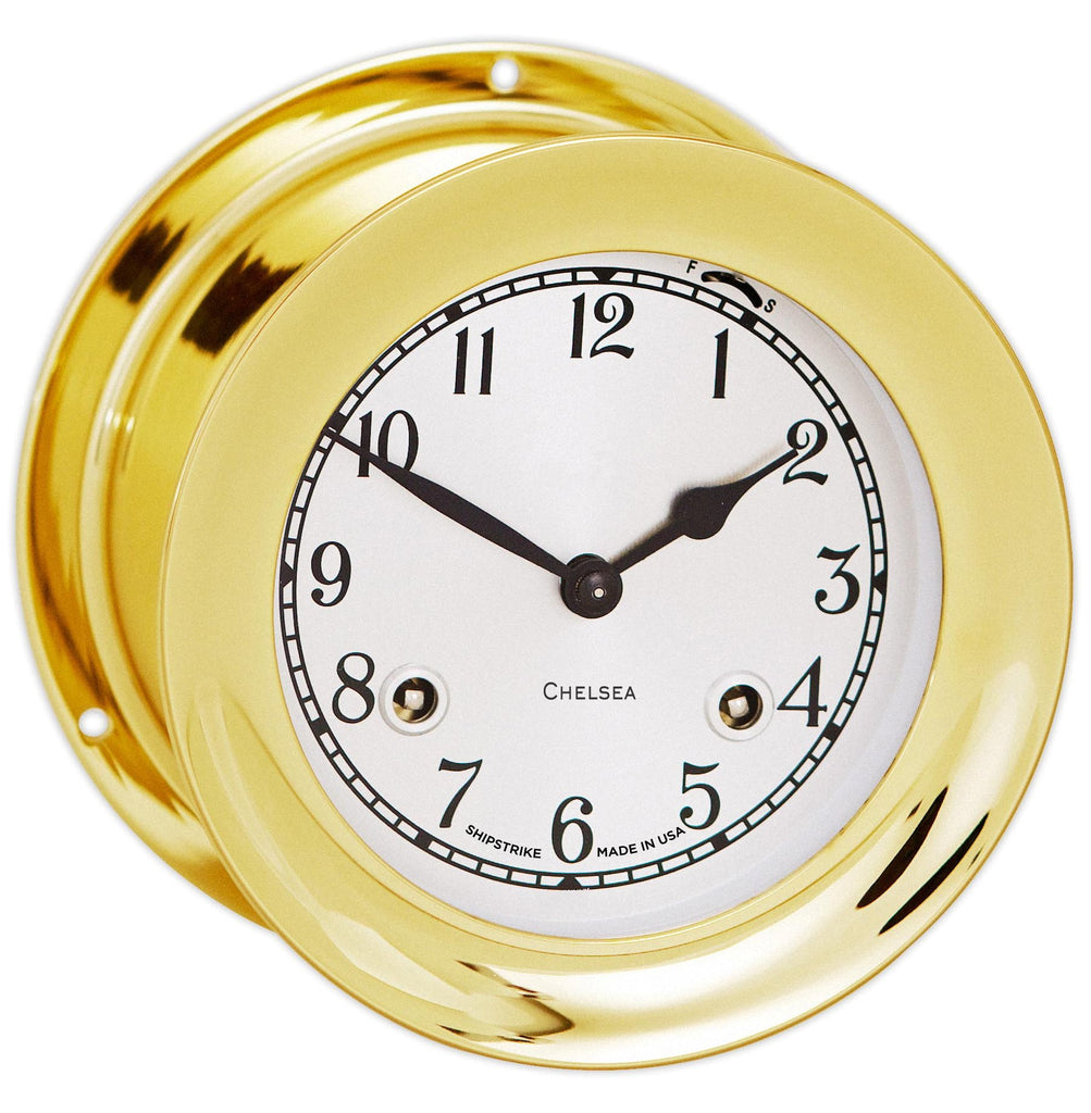 "Chelsea Shipstrike Clock, 4.5"" Brass, On Sale Now!"