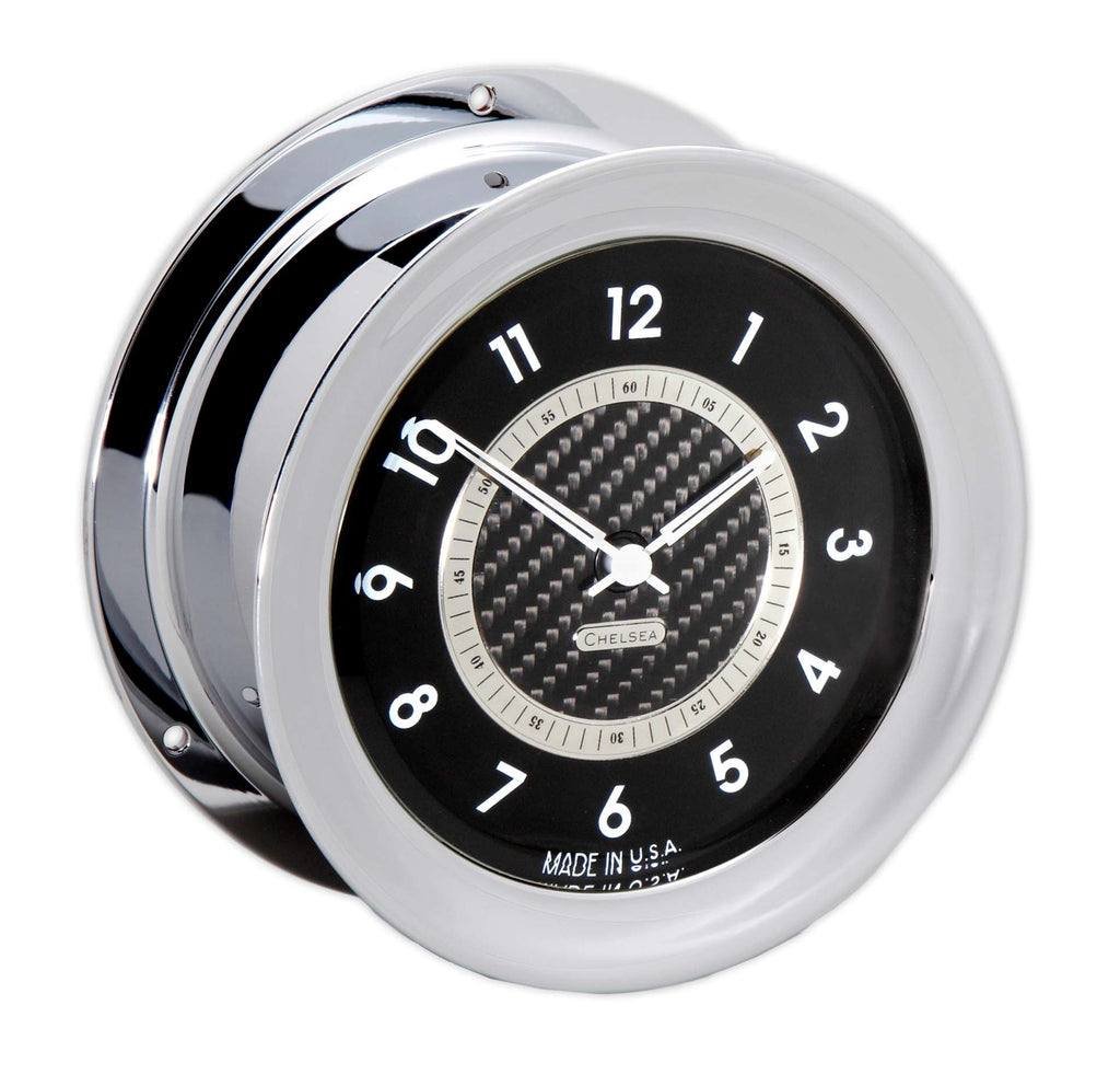Chelsea Clock Carbon Fiber 12 Hour Clock, Chrome, On Sale Now!