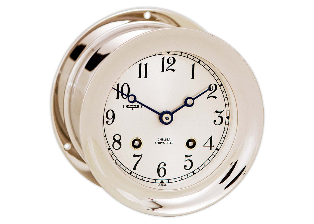 "Chelsea Ship's Bell Clock, 4.5"" Nickel, On Sale Now!"