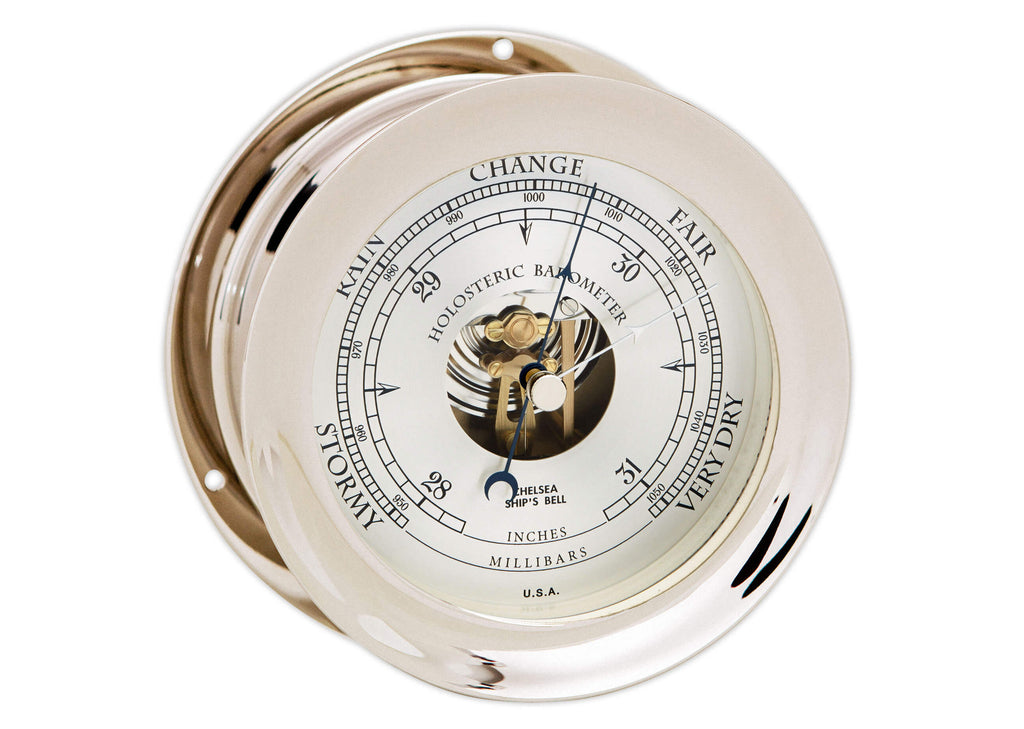 "NEW DIAL DESIGN, Chelsea Ship's Bell Barometer, 4.5"" Nickel"