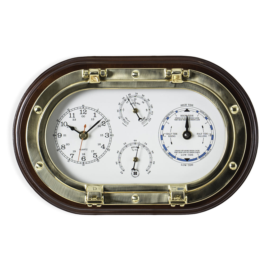 Porthole Weather Station, Clock/Tide Clock/Thermo/Hygro, On Sale Now!