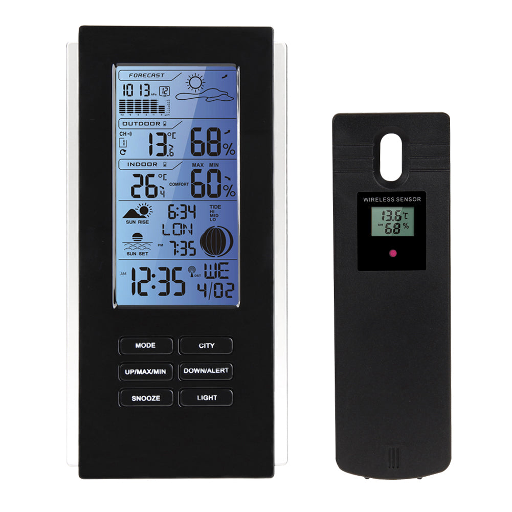 NEW PRODUCT, VKTECH Wireless Weather Station, Indoor Outdoor, Blue Digital Display with Forecast and Frost Alert