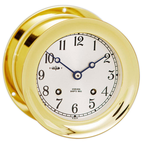 "Chelsea Ship's Bell Clock, 4.5"" Brass - BellClocks.com"