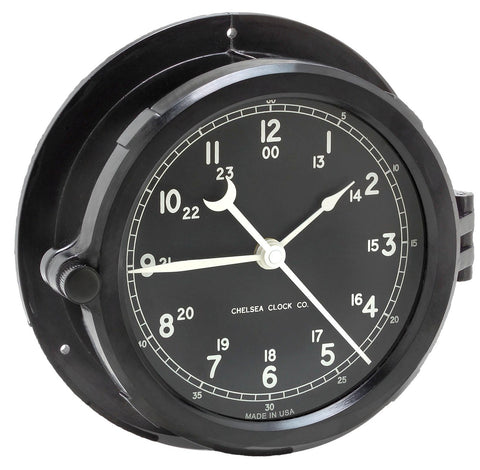 "Chelsea Patriot Deck Clock, 8.5"" Black Dial"